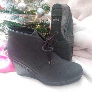 Black Lace-Up Wedge Heel Shoe Size 8